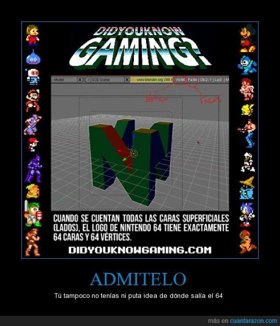 64,Admitelo,cara,curiosidad,Impresionante,ni idea,Nintendo64,vertices
