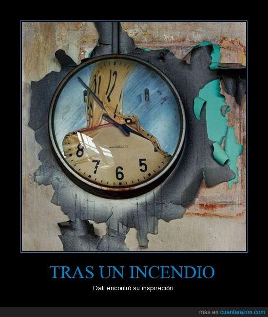 arte,Dalí,fuego,fundido,incendio,Reloj