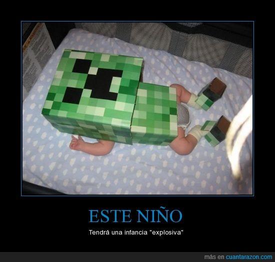 Creeper,Explosiva,Friki,Futuro,Infancia,Minecraft,Niño,Padres Frikis