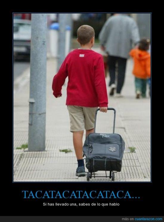 carro,mochila,niño,ruedas,ruido