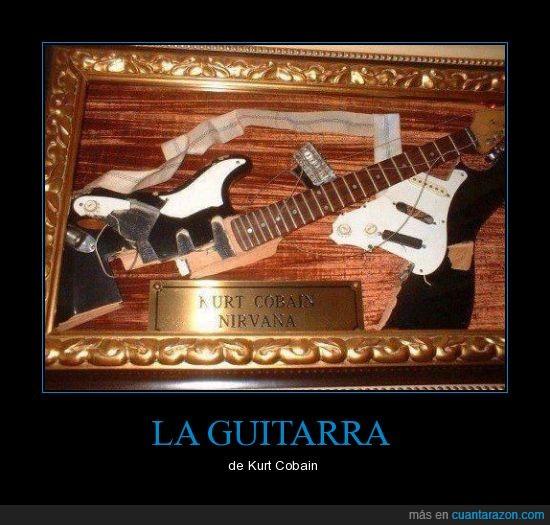 destroza,guitarra,kurt cobain,nirvana,rota,vitrina