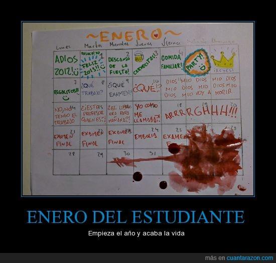 calendario,enero,ESTUDIANTE,estudios,examen,navidad,profesor,trabajo