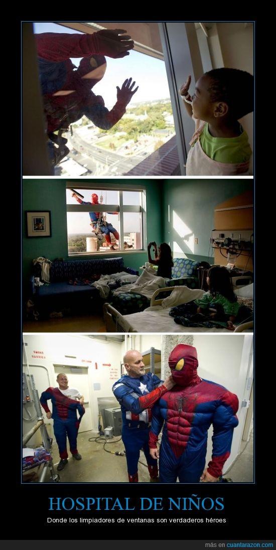 heroe,limpia,niño,spiderman,ventana