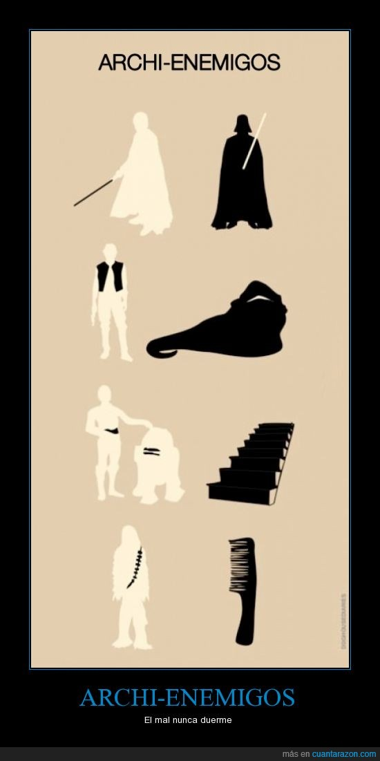 archienemigos,C3PO,Chewbacca,Darth Vader,enemigos,escalera,Han Solo,Jabba The Hut,Luke Skywalker,peine,R2D2,Star Wars