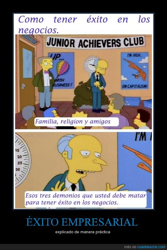 amigo,bart,exito,famiia,homer,lisa,milhouse,monty,Mr burns,negocios,religion