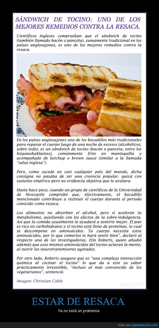 bacon,bueno,ciencia,colesterol,Remedio,resaca