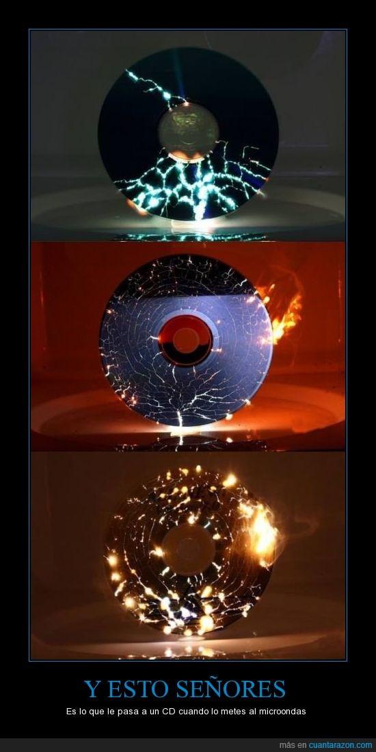 cd,chispas,fuego,microondas,mola