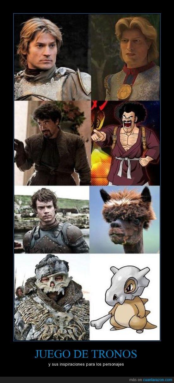 casaca de matraca,forell,jaime lannister,Juego de Tronos,kubone,personajes,pokémon,satan,Shrek,theon greyjoy