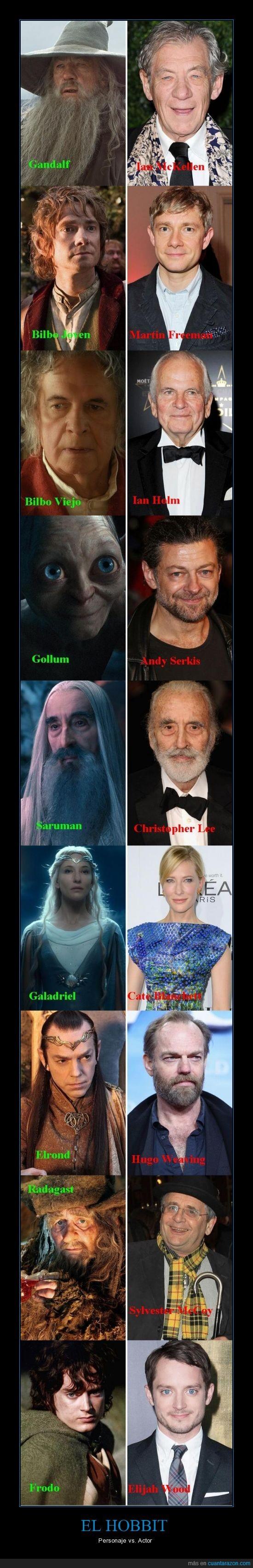 actores,bilbo,disfrasado,el hobbit,elfos,frodo,gandalf,gollum,magos,maquillado,radagast,saruman,sin disfraz,sin maquillaje