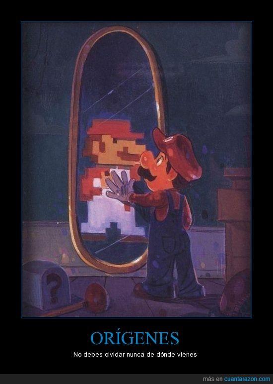 8 bit,espejo,mario,nuevo,pixel,retro