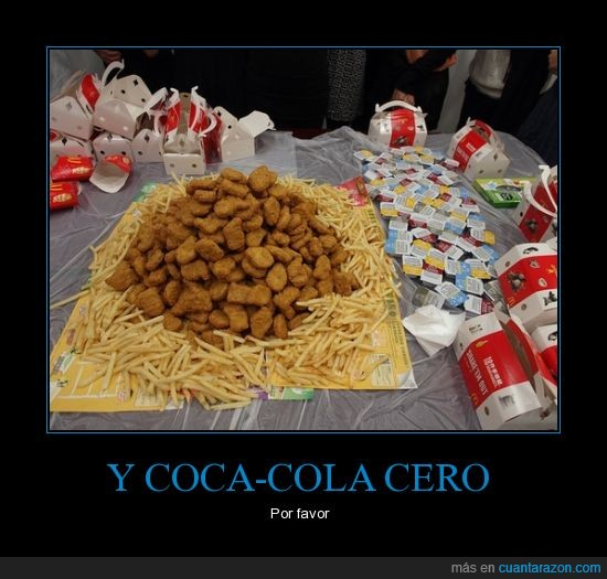 cocacola,de,mcdolands,nuggets,patatas,pollo