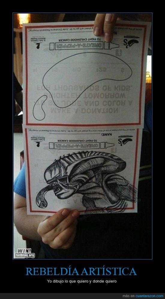 alguien,alien,arte,dibujar,entender,Instrucciones
