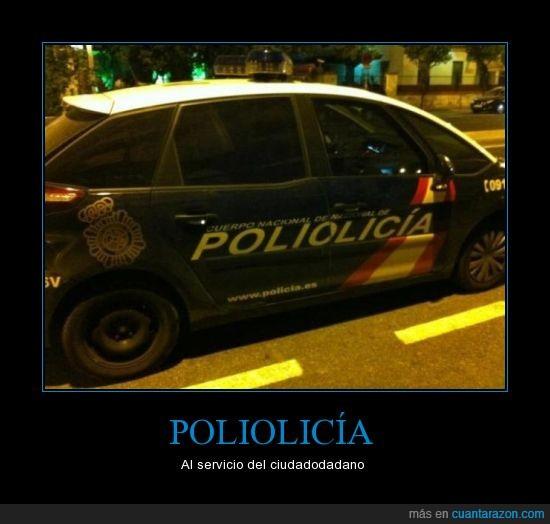 coche,error,piezas,policia,poliolicia,poliomielitis aguda,rotulacion