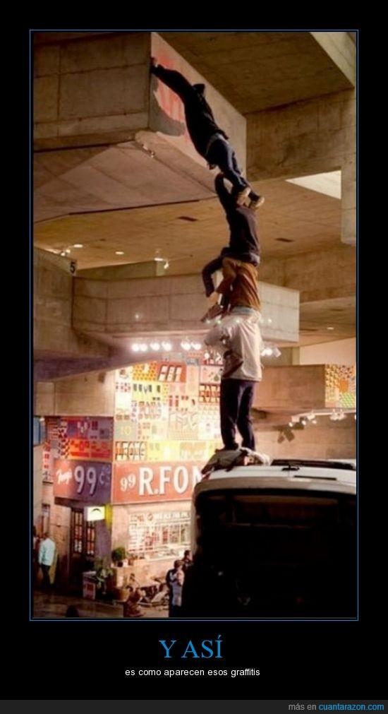 chicos,coche,encima,espíritu de castellers,graffiti,humana,torre,yasi