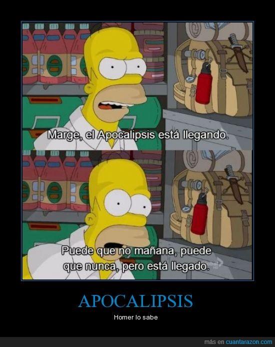 ahora,fin del mundo,homer,nunca,simpson. apocalipsis