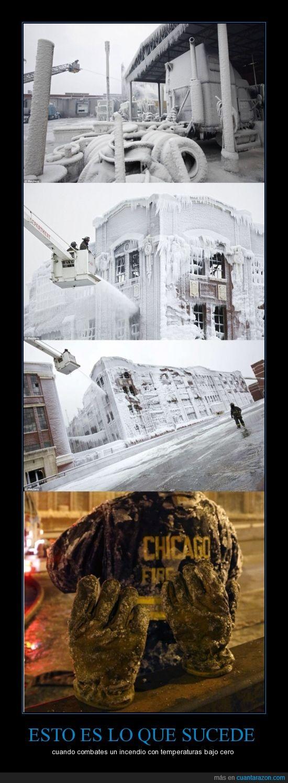 Bomberos apagan fuego,Chicago,congelan edifico,El agua se congeló en los guantes de los bomberos,frío extremo,láminas de hielo