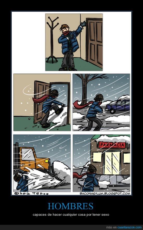 condones,farmacia,frío,Hombres,la va a tener tan fría que no se le levantará,nieve,ropa,viento