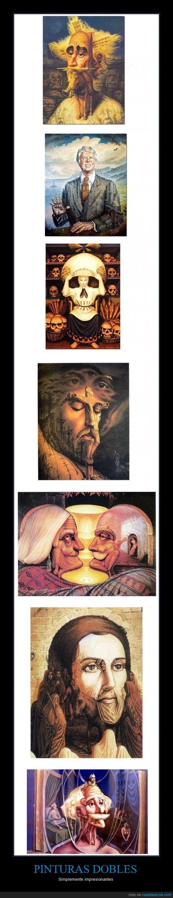 arte,calavera,cuadros,Don Quijote,edificios,Jesucristo,mexicanos,mola,pinturas dobles,viejetes