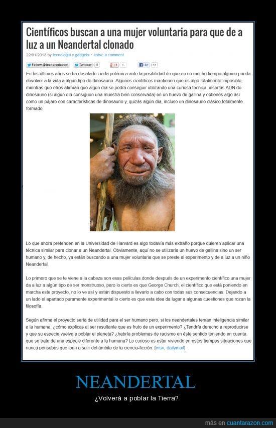 clonación,dilema,experimento,extinto,Harvard,Neandertal,polémica