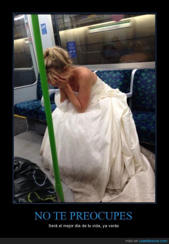llorar,metro,novia,tren,triste,vestido