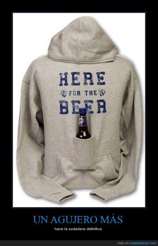 agujero,beer,cerveza,manos libres,reposa,sudadera