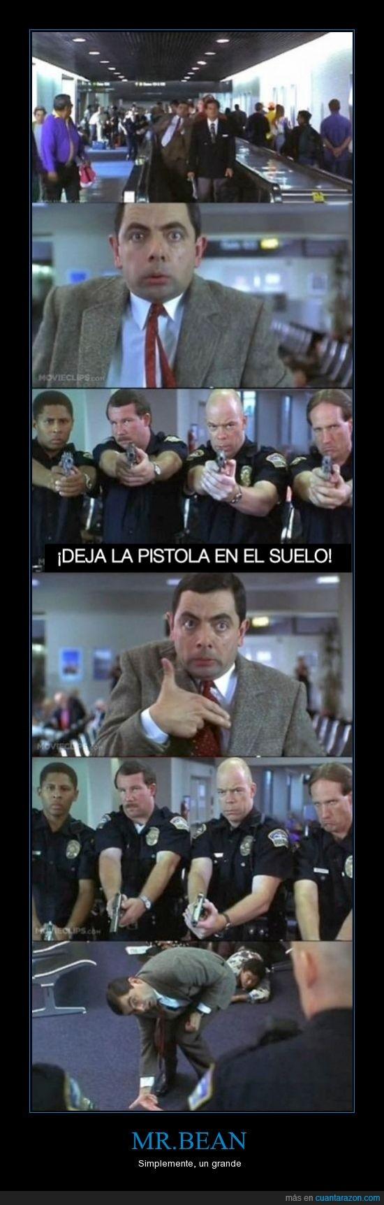 Aeropuerto,Humor,mano,MR.Bean,Pistola,policia
