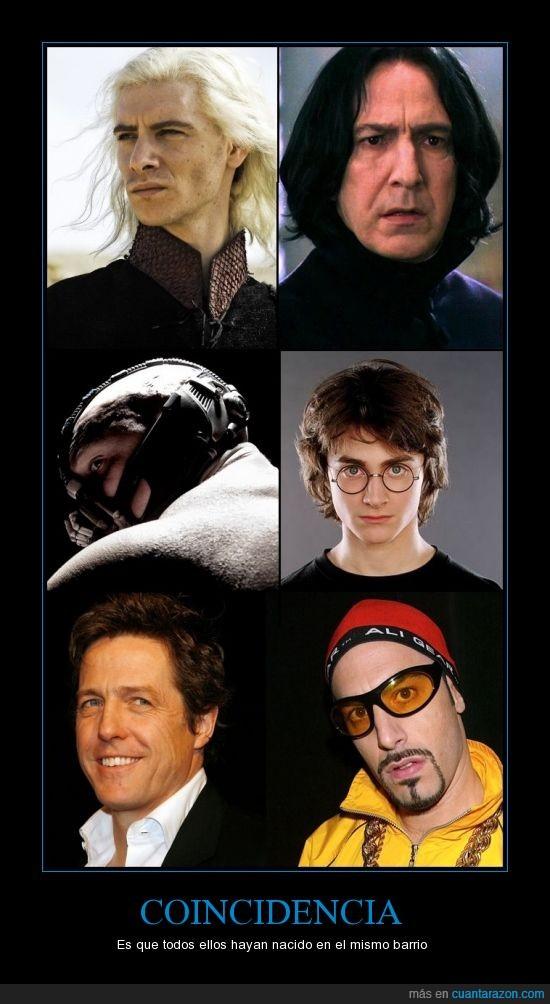 Ali G,Bane,Daniel Radcliffe,Hammersmith,harry lloyd,Harry Potter,Hugh Grant,Sacha Baron Cohen,Tom hardy,Viserys