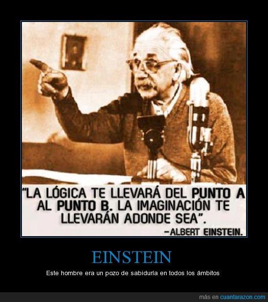 al infinito y más alla,Albert,Einstein,frase,imaginacion,llevar,logica,punto