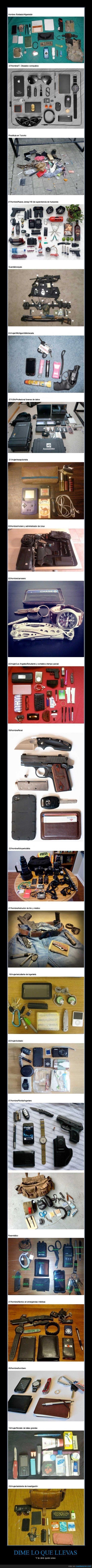 arma,bibliotecaria,bolso,bombero,encima,lleva,medico,mochila,movil,navaja