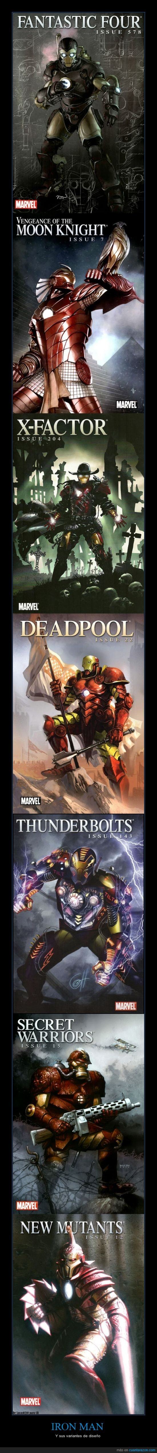 armadura,diseños,iron man,marvel,variantes,vengadores