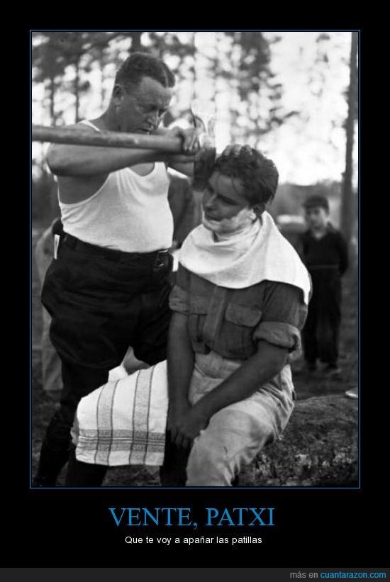 afeitarse,barbero,bn,hacha,vascos