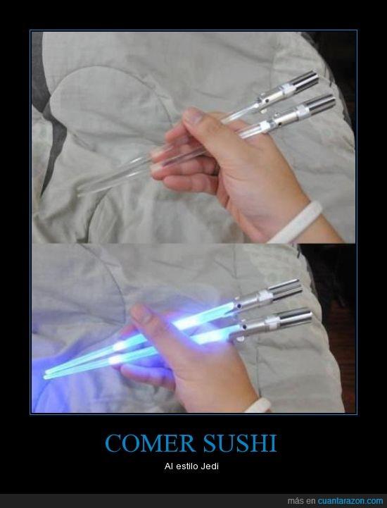 jedi,palillos,sables laser,star wars,sushi