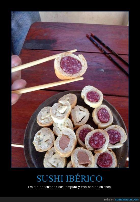 chino,fuet,japones,palillo,pan,pate,queso,salchichon,sushi