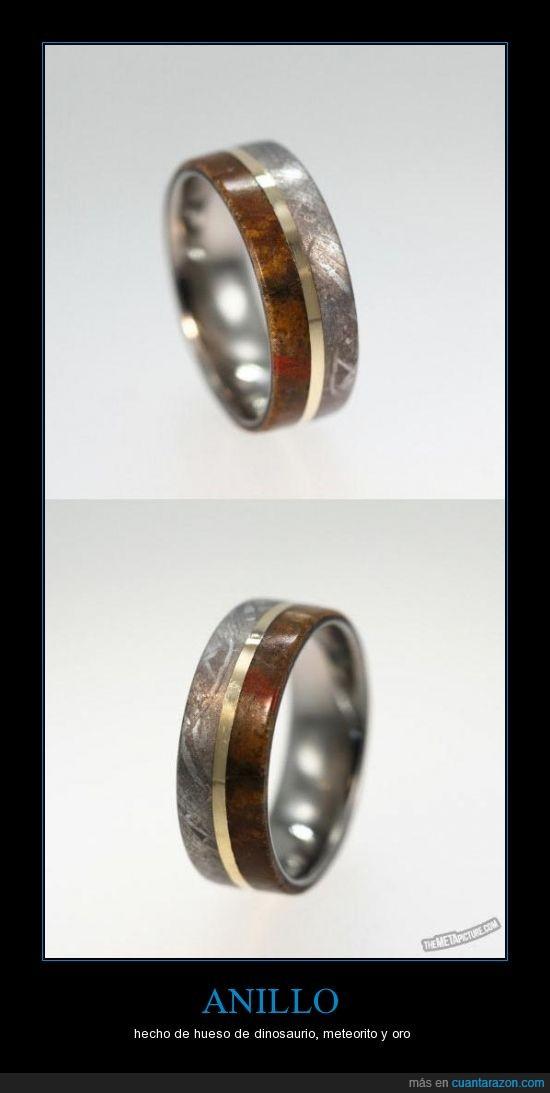 anillo,debe ser carisimo,dinosaurio,hueso,oro