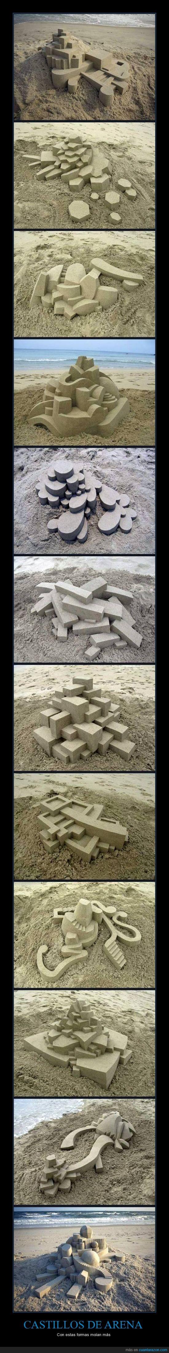 arena,castillo de arena,cuadrado,escaleras,formas,playa,rectángulo,redondas