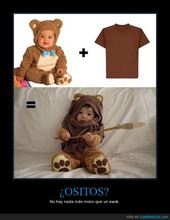 bebe,camiseta,disfraz,ewok,niño,osito,oso