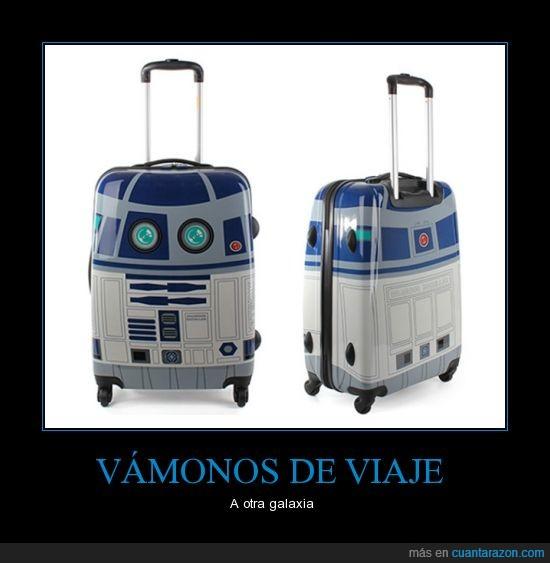 dibujo,maleta,R2D2,ruedas,star wars,viajar