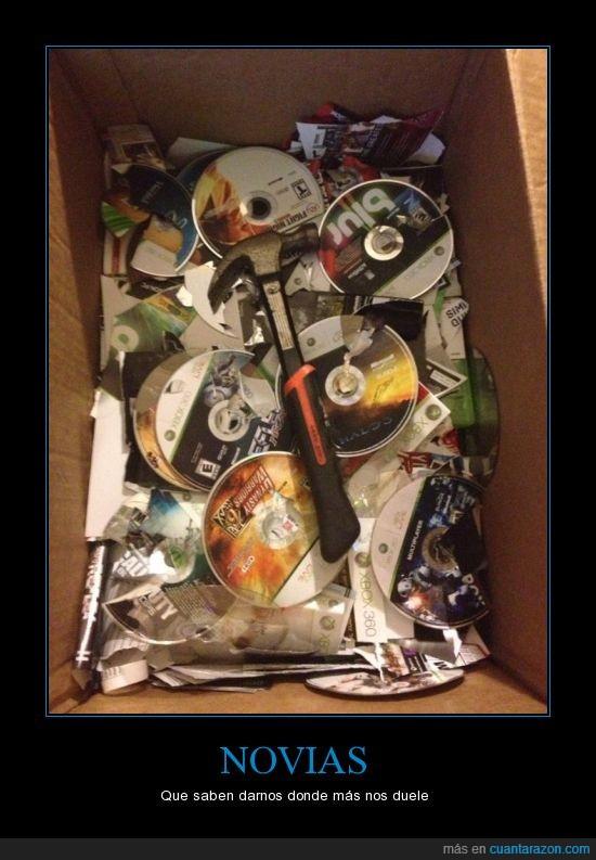 caja,destrozo,juego,novia,romper,roto,xbox