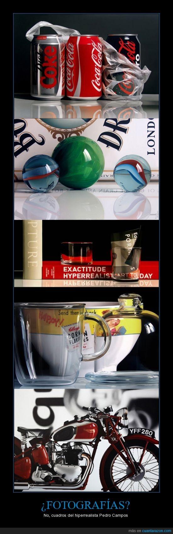canicas,coca-cola,corn flakes,hiperrealismo,impresionante,libros,moto,Pedro Campos,reflejos