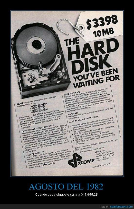 10Mb,1982,caro,disco duro,dolares,Gigabyte