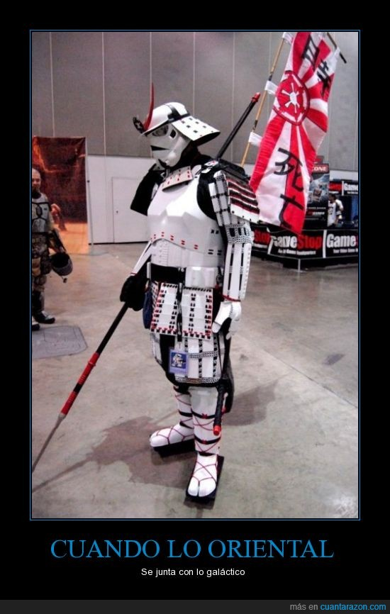 cosplay,galáctico,oriental,samurai,stormtrooper