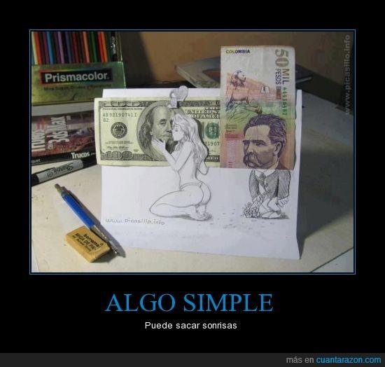 Besar. simple,billetes,dibujo,risas