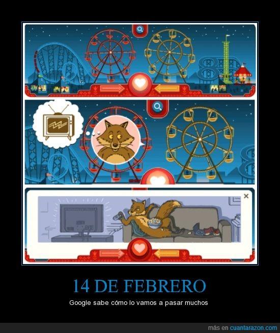 14 de febrero,doodle,forever alone,google,san Valentin,zorro