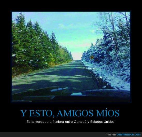 carretera,cartel,diferencia,foto,frio,Frontera,hielo,nieve,pinos