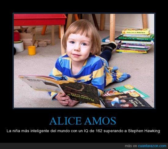 Alice Amos,coeficiente,Con solo tres años,intelectual,inteligente,joder que lista es la tía,niña