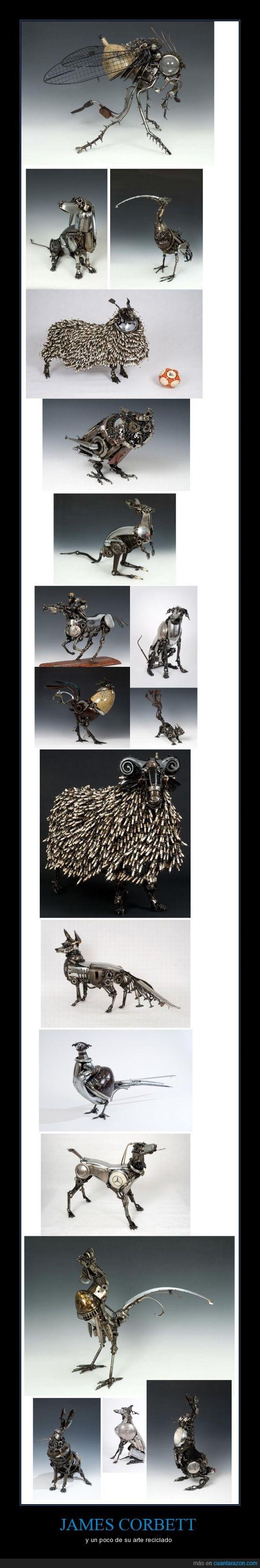 animales reciclados,arte,james corbett,pieza