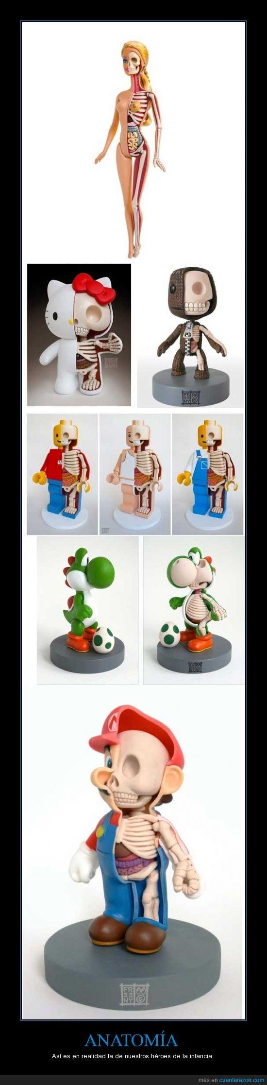 anatomia,barbie,click,cuerpo,esqueleto,hueso,infancia,lego,mario,mitad,yoshi
