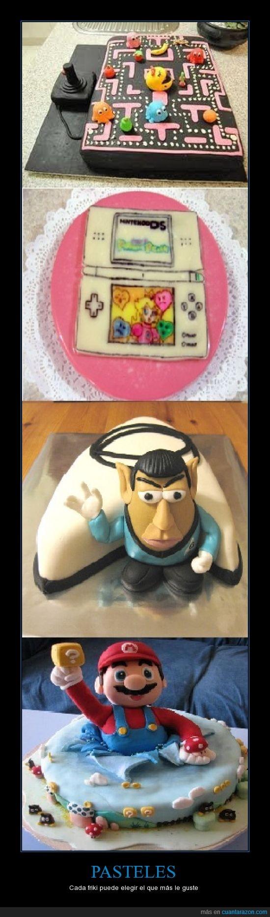 mario,pacman,pastel,star trek,tarta,yo me quedo con el del pacman