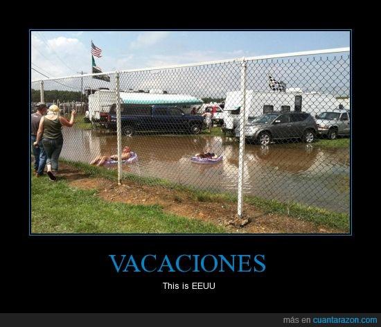 agua,charca,coche,hillbilly,inundacion,piscina improvisada,redneck,vacaciones