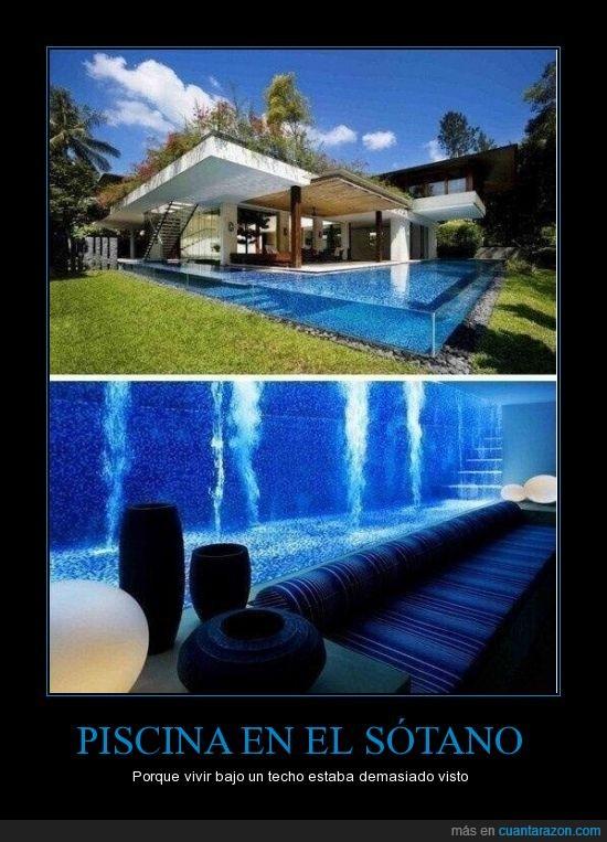 impresionante,piscina,sótano